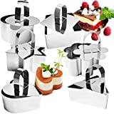 Cake Rings Mold Set,12 Piece Stainless Steel Dessert Mousse Mold with Pusher & Lifter Cooking Rings
