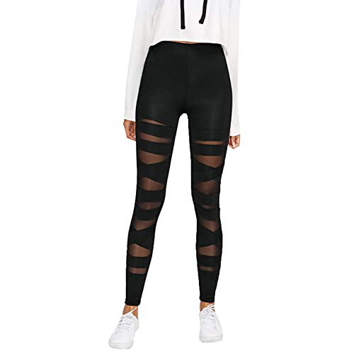4e873eefa65f5 BLINKIN Black Criss Cross Half Translucent Yoga and Gym Leggings Tights for  Women | Girls