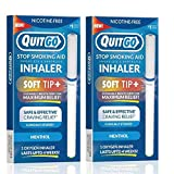 Smokeless Inhaler with Soft Tip Chewable Mouth Grip for Maximum Relief and How to Quit Smoking Guide, Help for Oral Fixation Support, Oxygen Inhaler to Stop Smoking (2 Pack, Menthol)