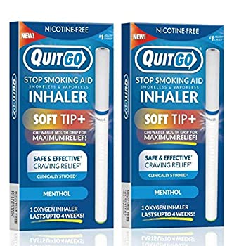 Smokeless Inhaler with Soft Tip Chewable Mouth Grip for Maximum Relief and How to Quit Smoking Guide Help for Oral Fixation Support Oxygen Inhaler to Stop Smoking  2 Pack Menthol