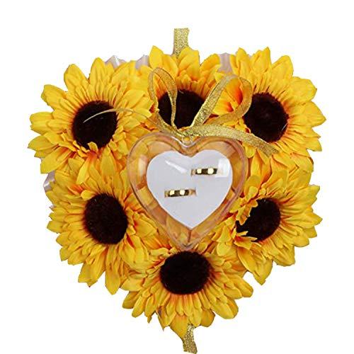 Wohlstand Romantico Matrimonio Anello Girasole Scatola Cuore Bomboniere Anello Nuziale Cuscino Romantico Cuscino portagioie con Elegante Cassa Gioielli Floral Accessori da Sposa