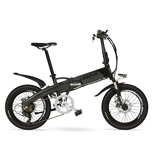 LANKELEISI G660 48V10Ah High Power Hidden Battery 20'Folding Electric Mountain Bike, Aluminum Alloy Frame, Suspension Fork (Black Grey, Plus Extra Battery)