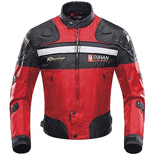 BORLENI Motorradjacke Herren Motorrad Jacke Winddicht mit Protektoren Protektoren Jacke Roller Biker Touren Damen Rot L