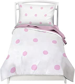 Where The Polka Dots Roam Twin Pink Polka Dots Duvet Cover Set with 1 Pillowcase for Kids Bedding - Double Brushed Microfiber (68