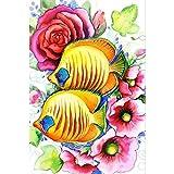 ksyklys DIY Pintura por Números Pint por Número de Kits for Adultos Mayores Avanzada Niños Flor y pez Dorado 16x20 Inch Marco de Bricolaje