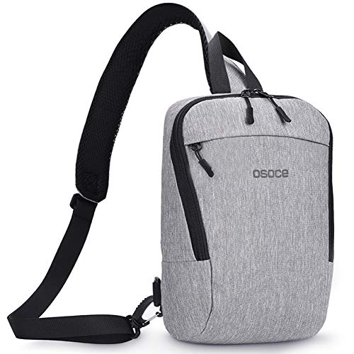 Sling Chest Cross body Bag,OSOCE Shoulder Backpack Pack For Travel Sports(Light Grey)
