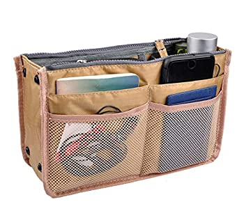 Vercord Updated Purse Handbag Organizer Insert Liner Bag in Bag 13 Pockets New Khaki Medium