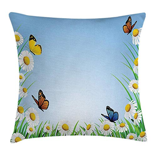 FAFANI Butterfly Throw Pillow Cushion Cover, Daisies with Butterflies on Scenic Sky Chamomiles Animal Nature Happiness Art, Decorative Square Accent Pillow Case, 18 X 18 inches, Multicolor
