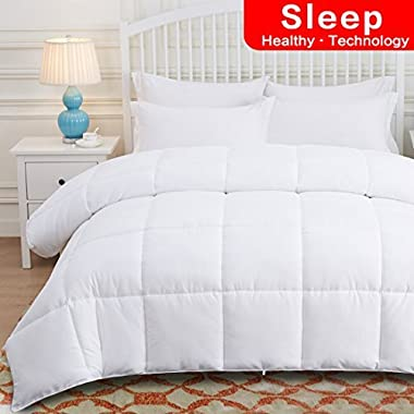 OHAPPES King Comforter Soft Down Alternative Quilted for Summer & All Seasons with Corner Tabs-Reversible Cooling Duvet Insert-Hotel Collection-Hypoallergenic-Fluffy, Warm, White, 90 x 102 inches