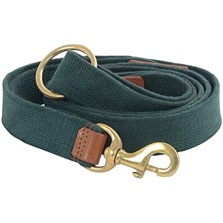 VamaLeathers Strong Leash - Natural Cotton & Leather - Soft & No Sweat in Hand - Patent Applied Dual Handle Functionality - for Large and Big Size Dog, 5 Feet Long - Army Green