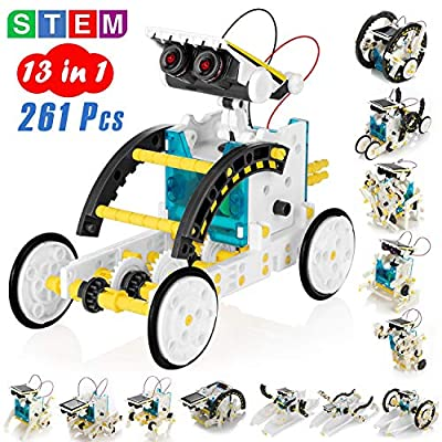 KIDWILL 13-in-1 Educational Solar Robot Kit for Kids, STEM Science Toy Solar Power Building Kit Puzzle DIY Assembly Battery Operated Robotic Set, for Kids Teens and Science Lovers
