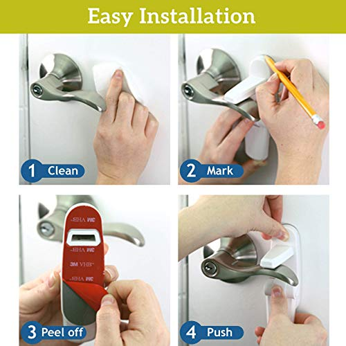 Improved Childproof Door Lever Lock (3 Pack) Prevents Toddlers from Opening Doors. Easy One Hand Operation for Adults. Durabl   e ABS with 3M Adhesive Backing. Simple Install, No Tools Needed