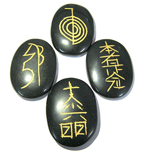 Usui - Símbolo de Reiki tallada ágata negra con cristal curativo para hombres y mujeres, regalo de Reiki Feng Shui, meditación energética