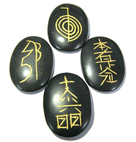 Usui Reiki Símbolo tallado ágata negra Set de cristal curativo Wellness hombres mujeres regalo Reiki Feng Shui piedra preciosa meditación energía