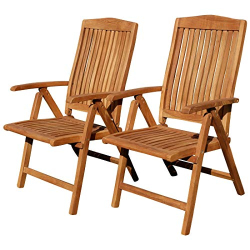 ASS Teak Design Hochlehner Gartensessel Gartenstuhl Sessel Holzsessel Klappsessel Gartenmöbel Holz sehr robust 7fach-verstellbar Modell: JAV-Tobago, Größe:2 Stück