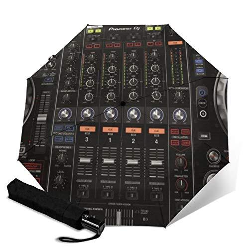 Panda Regenschirm, winddicht, Reise-Regenschirm, automatisches Öffnen/Schließen, kompakt, zusammenklappbar Schwarz Radio DJ Werkbank Einheitsgröße