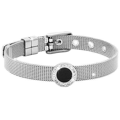 Beloved Bracciale da donna, braccialetto acciaio e cristalli con cinturino semirigido tipo orologio e chiusura a fibbia, lunghezza regolabile con charm (Round smalto)