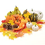 Sharson Assorted Artificial Pumpkins and Gourds, Fake Foam Pumpkins Artificial Vegetables for Decorating Halloween Thanksgiving Fall Autumn Party Wedding (120 Pcs)