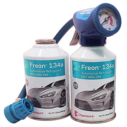 2 Cans of Chemours Freon R134a for MVAC use in a 12-Ounce Self-Sealing Container with Gauge and Hose Dispenser