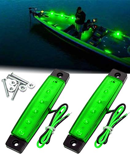 Shangyuan LED Interior Boat Lights, Utility Slim Strip Bar Light Fit Courtesy Lighting Cockpit Lights Navigation Light Green (Pack of 2)