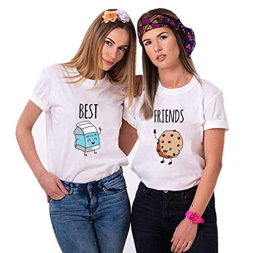 Daisy for U Best Friends Sister T-Shirt for Two Girls Ladies T Shirts with Print Rose Woman Tops Summer Top BFF 2 Pieces Symbolic Friendship-Weiß-Milch-S-1 Stücke