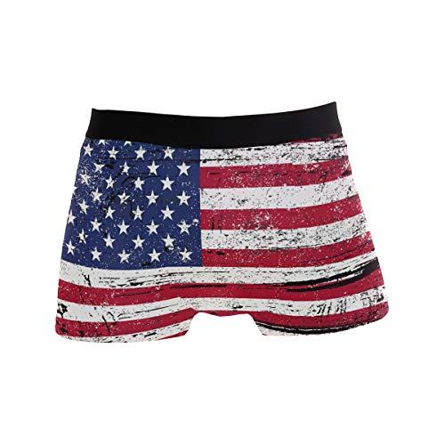 BONIPE Retro USA Amerikanische Flagge Boxer Briefs Herren Unterwäsche Jungen Stretch Atmungsaktiv Low Rise Trunks S Gr. XL, mehrfarbig