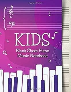 Blank Sheet Music Notebook Kids: Wide Staff Music Manuscript Paper | Purple Design (Piano Music Composition Books)