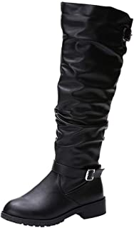 JJHAEVDY Women's Casual Over The Knee Boots Retro Comfy Leather Block Heel Boots Non-Slip Riding Boots - Side Zipper