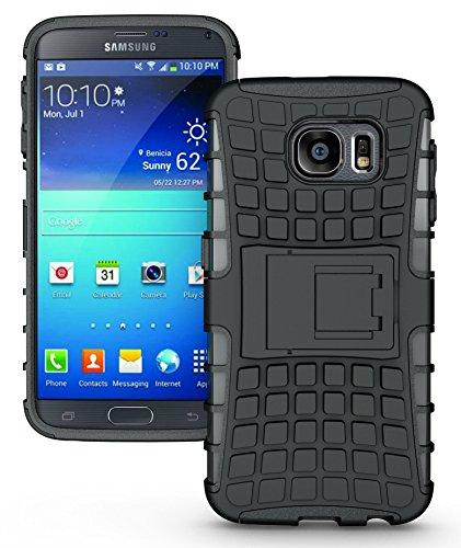 Samsung Galaxy S6 Funda, JKase Diablo Serie Tough Resistente Dual Protección de la Capa Funda Carcasas con Pata de Cabra para Samsung Galaxy S6 - Empaquetado al por Menor (Negro)