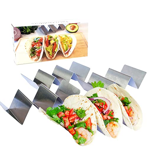 Taco Holder - Taco Holders, Stainless Steel with Free Recipe Ideas - Taco Trays - Taco Stand Up...