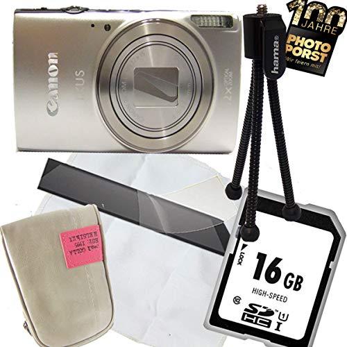 1A PHOTO PORST Jubiläums Angebot Canon Ixus 285 HS Silber+Ministativ+Display-Schutzfolie+SD 16 GB Speicherkarte+Tasche+Mikrofasertuch