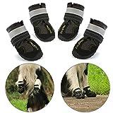 Hcpet Zapatos para Perros, Impermeable Zapatos Perro para Mediano y Grandes Perros – Negro (3#)