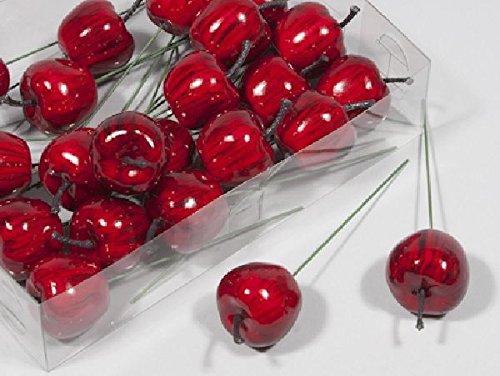 Schreiber Deko Äpfel angedrahtet / 24 Stück/rot/Ø 3,5 cm/künstliche Äpfel