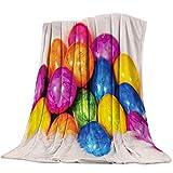 Moily Fayshow Coperta in Pile Getta Coperta di Uova di Pasqua Coloful con Pelliccia per Divano Divano Decorativo per Tutte Le Stagioni Calde Coperte Leggere 60 'x50'