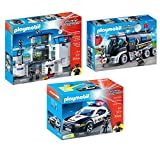 PLAYMOBIL City Action Police 3 Box Set Bundle with Police Headquarters and Prison, Tactical Unit Truck, and Police Cruiser Playsets