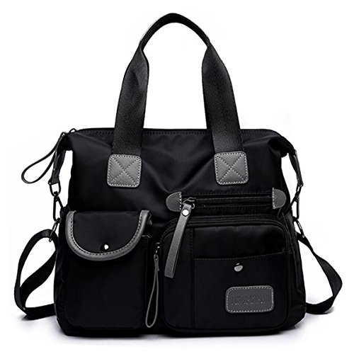 Women's Utility Bag Nurse Bag Nursing Tote Bag Versatile and Fashionable with Lots Of Pockets (Black)