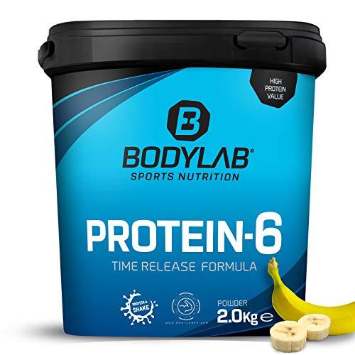 Bodylab24 Protein-6 Banane 2kg / Mehrkomponenten Protein-Pulver, Eiweißpulver aus 6 hochwertigen Eiweiß-Quellen / Protein-Shake für Muskelaufbau