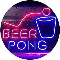 Beer Pong Bar Game Pub Dual Color LED看板 ネオンプレート サイン 標識 青色 + 赤色 300 x 210mm st6s32-i3495-br