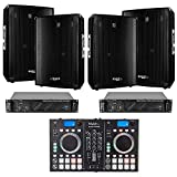 SONO 4 Enceintes 2800W - 2 Ampli Sono 1920W -Régie DJ avec Table de Mixage, Double Lecteur CD & BLUETOOTH - Câble RCA - Câblage ENCEINTE - Câble PC