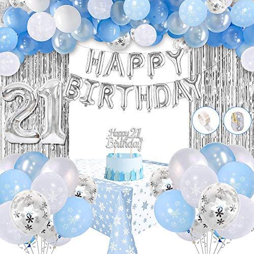 21 Geburtstag Deko, 21 Anzahl Luftballons, Tortenauflagen, Quasten, Tischdecke, Blau Weiß Konfetti Latex Luftballons für Mädchen Geburtstag Dekorationen