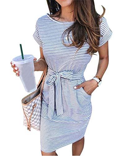 ECHOINE Women's Summer Striped Dresses, Short Sleeve T Shirt Dress Casual Tie Waist with Pockets Light Blue