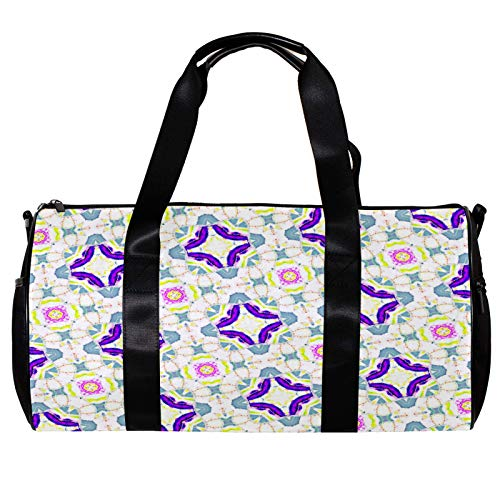 Anmarco bolsa de lona para mujeres hombres pendientes colorido adorno patrón deportes gimnasio bolsa de mano fin de semana noche bolsa de viaje al aire libre equipaje bolso