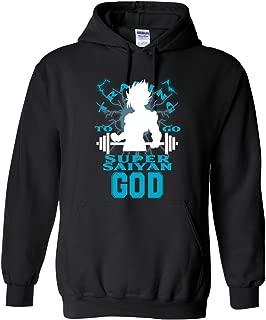 Blue Lagoon Fashion Adult Men's Unisex DBZ Goku Training to Be Super Saiyan God Mens Pop Culture Graphic Hoodie