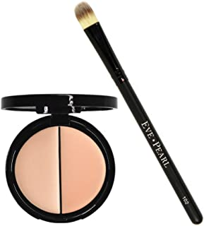 EVE PEARL Dual Salmon Concealer And 102 Concealer Brush Full Coverage Under Brighten Eye Concealer Brush Set Makeup Kit (Light)
