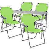 Juego de 5piezas camping de aluminio, 120x 60x 58/70cm, 1x mesa de camping xxl con asa + 4sillas de camping color verde lima, Oxfort