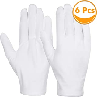 Cotton Gloves, Anezus 3 Pairs White Cotton Gloves Cloth Serving Gloves for Eczema Moisturizing Dry Hands Coin Jewelry Silv...