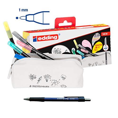 14 Rotuladores Edding 1200 Estuche Portatodo personalizable con 12 colores estándar + 2 colores pastel + Portaminas Edding P12 0.7mm