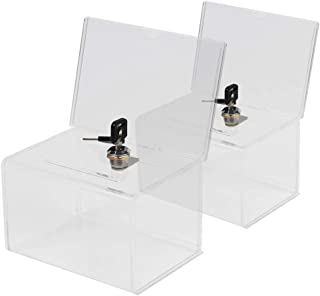 Kyodoled Acrylic Donation Box with Lock,Ballot Box with Sign Holder,Suggestion Box Storage Container for Voting, Raffle Box,Tip Jar 6.1