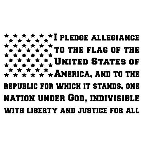 Bamfdecals USA Pledge of Allegiance Subdued American Flag Shape Die-Cut Vinyl Decal - Medium - Black