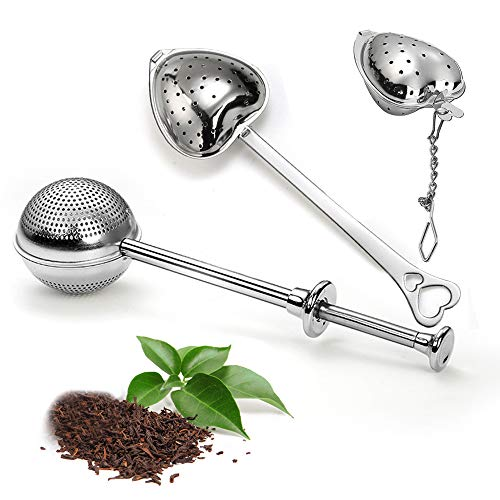 LdawyDE Filtro tè Infusore tè Colino da tè Palla in Acciaio Inox Infusore da tè per Uso Alimentare Colino da tè con Manico per tè Sfuso e Spezie 3 Pezzi